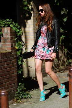 Leather jacket/summer dress/mini/sandals combo  Maybe I won't put up my leather jacket quite yet... hmm.....