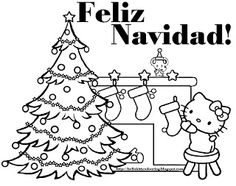 SPANISH HELLO KITTY  COLORING PAGE - LOTS OF  CHRISTMASCOLOURING PAGES - 100S OF THEM ON THIS PAGE... PRINT A FEW OUT AND STAPLE THEM INTO A COLOURING BOOK FOR BOREDOM BUSTING! FELIZ NAVIDAD