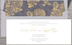 This personalized stationery has a modern floral theme with grey and white as base colors and roses printed in gold. Engagement Invitations, Graduation Invitations, Invites, Wedding Invitations, Laser Cut Box, Personalized Stationary, Indian Wedding Cards, Floral Theme, Wedding Programs