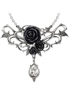 Bacchanal Rose Necklace by Alchemy Gothic features3 black roses upon a silver-tone pewter frame detailed with clear Swarovski crystals andbunches of grapes. Below is abeautiful sparkling clear Swarovski crystal teardrop.