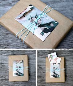 Book gift wrapping by Ruth Bleakley (using her tiny envelope tutorial).