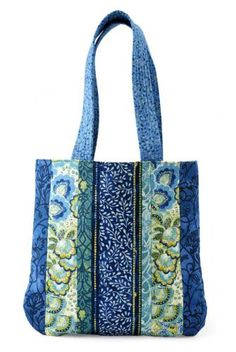 Floral Strips Bag | AllPeopleQuilt.com - also lots pf other free bag patterns on this site.