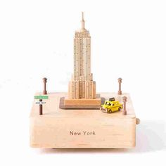 New York Empire State Building Wooden Music Box