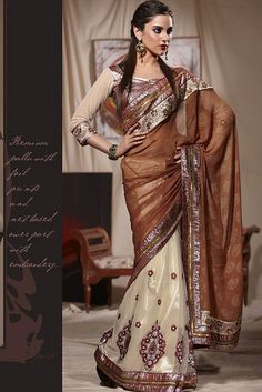 Beige and Brown Embroidered Net Wedding Saree