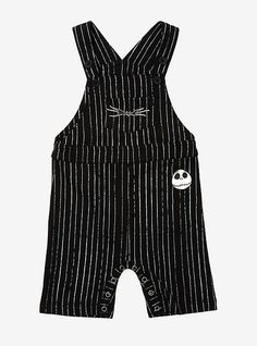 Disney The Nightmare Before Christmas Jack Skellington Pinstripe Infant Overall - BoxLunch ExclusiveDisney The Nightmare Before Christmas Jack Skellington Pinstripe Infant Overall - BoxLunch Exclusive, BLACK Baby Kids, Baby Boy, Carters Baby, Toddler Girls, Gothic Baby, Punk Baby, Baby Halloween, Halloween Witches, Jack Skellington