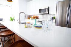 white and walnut kitchen