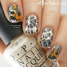 Hands Down The Prettiest Butterfly Nails I've seen.. ever! 31 Day Nail Art Challenge 2.0: Day Ten, Animal Printby Will Paint Nails for Food