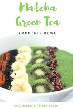 Matcha Green Tea Smoothie bowl - delicious as breakfast or as a dessert and full of anti-oxidants.  So healthy and good for you!  Vegetarian, Paleo, Glutenfree, Grainfree and Refined Sugarfree