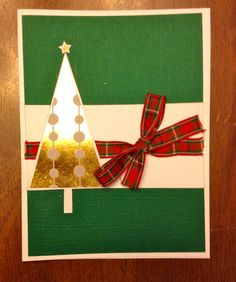 Gold Foil tree with Plaid Green and Red Ribbon.
