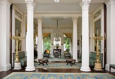 Double parlor of Millford Plantation, Sumter County, South Carolina, interior columns Southern Plantation Homes, Southern Mansions, Southern Plantations, Southern Homes, Southern Charm, Plantation Houses, Country Homes, Interior Columns, Mansion Interior