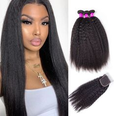 """La'Mo Hair on Instagram: """"😍Pretty queen #shepretty👸 slaying Kinky Straight Hair Bundles With 4*4 Lace Closure 10-28Inch🔥 Grab yours and slay too🔥🔥 Link in the bio💕💗…"""" Weave Hairstyles, Straight Hairstyles, Buy Hair Extensions, Best Virgin Hair, Kinky Straight Hair, Virgin Hair Bundles, Remy Human Hair, Lace Closure, Lace Wigs"""