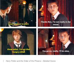 harry potter deleted scene. I love how Ron is being a good friend even though he is always hungry!