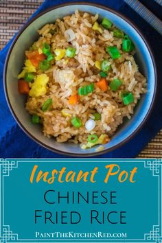 Instant Pot Fried Rice recipe is so quick and easy. It calls for frozen vegetables, Jasmine rice, soy sauce, and ingredients you probably have on hand and requires minimal prep work. Best Instant Pot Recipe, Instant Pot Dinner Recipes, Easy Dinner Recipes, Easy Dinners, Best Rice Recipe, One Pot Rice Recipe, Chinese Rice Recipe, One Pot Rice Meals, Jasmine Rice Recipes