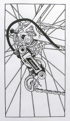 Art and Music Cycling Art, Cycling Bikes, Recycled Bike Parts, Bike Logo, Bike Illustration, Mechanical Art, Bicycle Art, Touring Bike, Vintage Bicycles