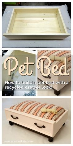 Dog Bed with an Upcycled Drawer Look Love those ideas for recycled drawers into pet beds? Check out this dog bed DIY…Love those ideas for recycled drawers into pet beds? Check out this dog bed DIY… Diy Bett, Diy Dog Bed, Pet Beds Diy, Cat Beds, Pet Beds For Dogs, Homemade Pet Beds, Pet Dogs, Wood Dog Bed, Doggie Beds