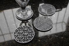 These coasters were custom designed and printed here @ Stoneworks. Now you can download these beautiful designs, print it twice and have a set of 6 gorgeous coasters to compliment the glassware in your home