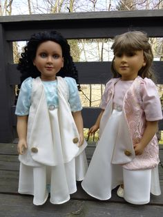 I couldn't resist posting this one--the original dress sold, and the buyer asked for another one for her niece and daughter to have matching dresses for their dolls, then someone who had wanted to buy the original Regency dress asked if I couldn't possibly make her another one, since she missed it...  This is the result.  I almost re-dressed a doll with the original dress, too, but it's a bit of a hassle (mostly because of the hair), so I talked myself out of it.  Aren't they beautiful?