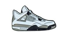 "Nike Jordan 4 IV White Black Grey ""Cement"" Lapel Pin"