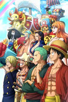 Straw Hat Pirates and Thousand Sunny - Strohhut-Piraten und tausend sonnige - One Piece Manga, One Piece Figure, One Piece Series, One Piece Drawing, Zoro One Piece, One Piece Fanart, One Piece Crew, One Piece World, One Piece Pictures