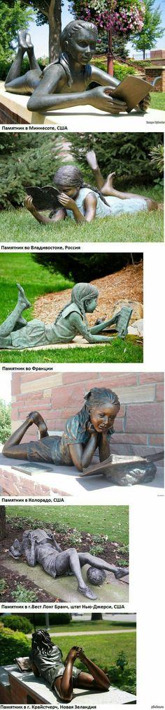 Estátuas de meninas lendo.