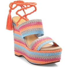 Schutz Bendy Crochet LaceUp Wedge Platform Sandals ($96) ❤ liked on  Polyvore featuring shoes
