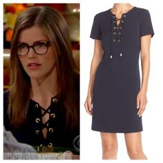 The Young and the Restless: May 2016 Natalie's Navy Blue Grommet Shift Dress