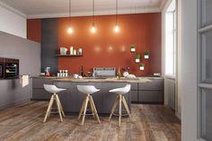 Deco Scandinavian house: 4 interior design - New Pin Scandinavian House, Scandinavian Interior Design, Interior Design Living Room, Red Kitchen Walls, Kitchen Interior, Kitchen Decor, Cuisines Design, Classic Furniture, Interior Lighting