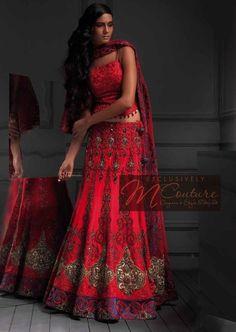 Crimson Lehenga With Intricate Details. Pakistani Bridal, Pakistani Dresses, Indian Sarees, Indian Bridal, Indian Attire, Indian Wear, Indian Outfits, Pakistan Fashion, Indian Couture