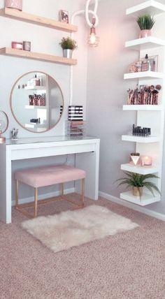 53 Best Makeup Vanities & Cases for Stylish Bedroom - bedroom - Apartment Decor Girl Bedroom Designs, Room Ideas Bedroom, Home Decor Bedroom, Diy Home Decor, Bed Room, Bedroom Hacks, Interior Livingroom, Diy Bedroom, Design Bedroom