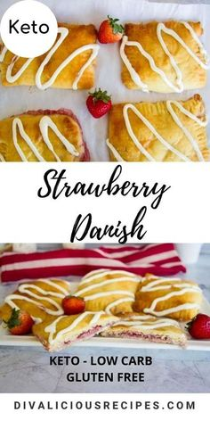 Made with low carb Fat head dough, these keto danish pastries have a strawberry filling. A delicious breakfast or sweet treat. #keto #lowcarb #ketodanish #lowcarbdessert #fathead #glutenfree Ketogenic Desserts, Low Carb Desserts, Low Carb Recipes, Keto Snacks, Low Carb Breakfast, Breakfast Recipes, Jam Recipes, Dessert Recipes, Bread Recipes
