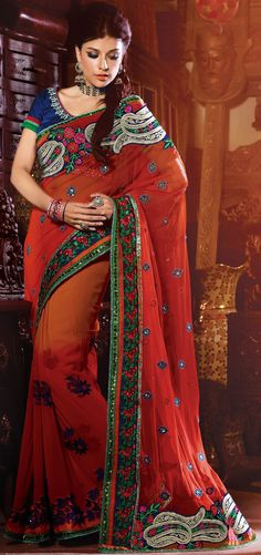 Captivating Orange Faux Georgette Embroidered Saree With Blouse - IG5604 USD $ 126.46