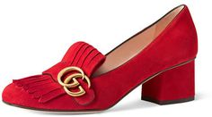 Gucci Marmont Fringe Suede 55mm Loafer, Red