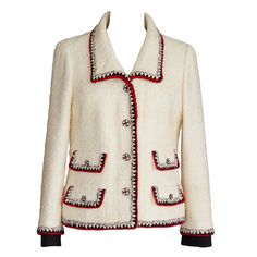 Pre-owned CHANEL jacket Important winter white boucle red and blue... ($4,275) ❤ liked on Polyvore featuring tops, blouses, jackets, white blouse, mint shirt, white crochet top, crochet shirt and chain shirt