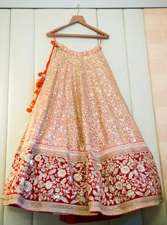 This is a handcrafted bridal lehenga, on velvet fabric. The lehenga is oriented with zari embroidery, embellishment of swarovski handwork. The lehenga is crafted in of 'gher' and has heavy can-can for a dolled up look. Indian Bridal Lehenga, Indian Bridal Wear, Indian Wedding Outfits, Indian Outfits, Indian Clothes, Indian Wear, Bride Indian, Pakistani Outfits, Eid Outfits