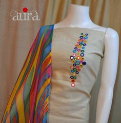 Creative Mirror Work designing On Kurti / Churidar Embroidery On Kurtis, Kurti Embroidery Design, Hand Embroidery Designs, Embroidery Dress, Churidar Designs, Kurta Designs Women, Kurti Neck Designs, Blouse Designs, Kurti Patterns