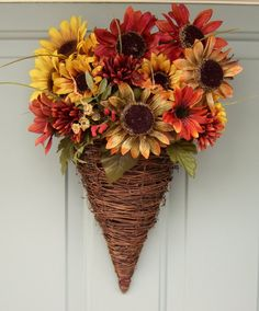 Fall Wreath - Wreath for Door - Fall Door Wreath - Summer Wreath - Sunflower Wreath - Sunflower Door Basket. $38.00, via Etsy.