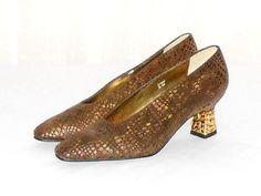 J. Renee Women's Brown Reptile Print Goldtone Nugget Heel Pumps Size 6 M #JRenee #PumpsClassics