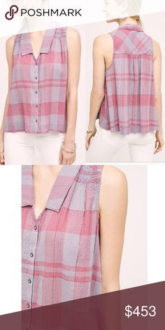 Anthropologie Holding Horses Plaid Midi Top Lightweight checkered plaid tank with metallic threading detailing. Brand new with tag! Anthropologie Tops Blouses
