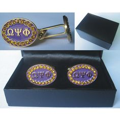 Omega Psi Phi stones cuff link