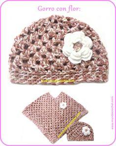 Gorro a crochet / ganchillo tipo granny con flor