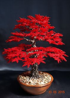 Autumn tree of beads.Ideas and Decor Beaded Crafts, Wire Crafts, Diy And Crafts, French Beaded Flowers, Wire Flowers, Ikebana, Ming Tree, Bonsai Wire, Wire Tree Sculpture