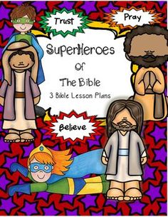 Superhero Bible Lesson provides 3 lessons to be taught to elementary students in a whole group setting. A few modifications for preschool have also been included. These lessons do need some prep time for Preschool Bible Lessons, Bible School Crafts, Bible Lessons For Kids, Bible Activities, Bible For Kids, Bible Crafts, Toddler Bible, Bible Resources, Bible Games