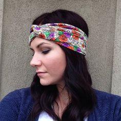 Red and Purple Turban OR Fabric Wrap Head Wrap Headband on Etsy, $10.99