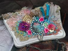 Little baroque purse shabby chic upcycled vintage  purse