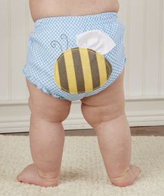 Blue & Yellow Buzzin' Bloomers Diaper Cover Set// hihi so funny//