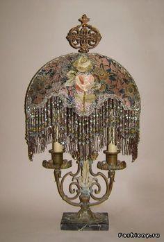 ~ Ribbon Work Lamp With Hand Beaded Fringe & Marble Base ~