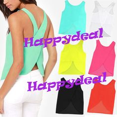 Free Shipping 2014 Summer Women Blouses Candy Color Casual Lady Shirts Sexy Backless Strap Chiffon Blouse Tops ladies' Vest-in Tank Tops from Apparel & Accessories on Aliexpress.com | Alibaba Group