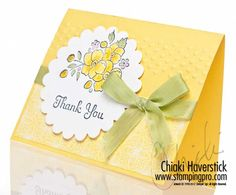 Bordering on Romance & Thank You Kindly stamp sets: Daffodil Delight, Blush Blossom and Pear Pizzazz inks; Scallop Circles 2 die; Adorning Accents TIEF; Pear Pizzazz Seam Binding.