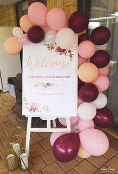 Boho Picnic Birthday Party Balloon Welcome Sign fr. - Boho Picnic Birthday Party Balloon Welcome Sign from a Boho Picnic Bi - 50th Birthday Party Decorations, 30th Birthday Parties, Birthday Celebration, 50th Party, 60 Birthday Party Ideas, 18th Birthday Decor, 21st Birthday Signs, 21st Birthday Centerpieces, 50th Birthday Ideas For Mom