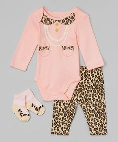 Loving this Pink Leopard All Dressed Up Bodysuit Set - Infant on #zulily! #zulilyfinds